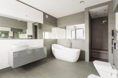 Vit exklusiv toalett Arkivbilder