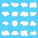 Vit färg för molnsymbolsuppsättning på blå bakgrund Royaltyfri Fotografi