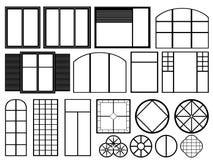 Vit fönsterillustration Stock Illustrationer