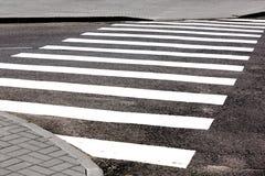 Vit för övergång för vägmarkering på asfalt Arkivfoton
