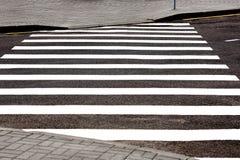 Vit för övergång för vägmarkering på asfalt Royaltyfria Foton