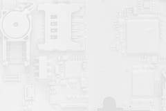 Vit för bakgrund för abstrakt begrepp för strömkretsbräde med smartphonedelar Arkivbilder