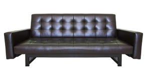 Vit för sofa för lyx svart isolerad läder Arkivfoto
