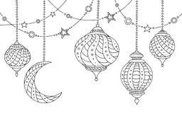 Vit för svart för stjärnan för månen för Ramadanlampor skissar grafisk illustrationen Royaltyfri Bild