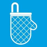 Vit för symbol för skyddande handske för kök Arkivbilder