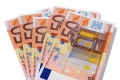 Vit för valuta för euro 50 isolerad anmärkningar Fotografering för Bildbyråer