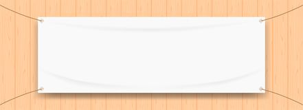 Vit för vinylbanermellanrum som isoleras på trärambakgrund, vit åtlöje upp textiltyg som är tomt för banret som annonserar stock illustrationer