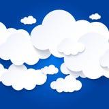 Vit fördunklar på bakgrund för blå himmel stock illustrationer