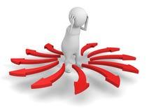 Vit förvirrad 3d Person Difficult Choice Arrows Direction Royaltyfri Fotografi