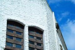 Vit fasad med gamla fönster Royaltyfria Bilder