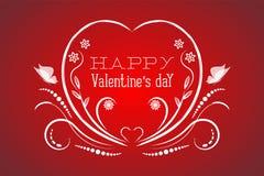 Vit festlig prydnad för valentindag på en röd bakgrund royaltyfri illustrationer