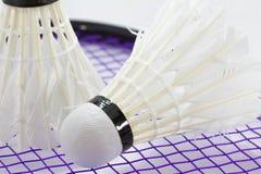 Vit fjäderboll för badminton Arkivbild