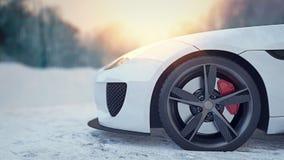 Vit fläckbil i snön Fotografering för Bildbyråer
