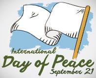 Vit flagga och Brushshtrokes för internationell dag av fred, vektorillustration Vektor Illustrationer