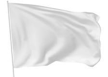 Vit flagga på flaggstång Arkivbild