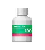 Vit flaska för medicin med etiketten Royaltyfri Foto