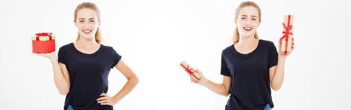 Vit flicka för collage i tshirten som rymmer upp gåvor, feriebegrepp som är falskt arkivfoto