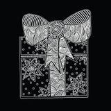 Vit gåva för mono färg med bandet Royaltyfria Bilder