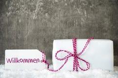 Vit gåva, snö, etikett, Willkommen hjälpmedelvälkomnande Arkivfoton