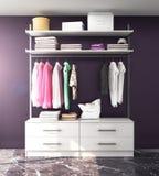 Vit garderob, kugge med kläder royaltyfri fotografi