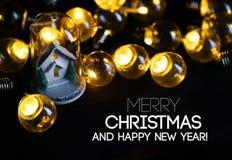 Vit garnering för glad jul och för lyckligt nytt år julHo royaltyfri foto