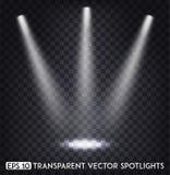 Vit genomskinlig effekt för för vektorfläckljus/strålkastare för parti, plats, etapp, galleri eller feriedesign stock illustrationer