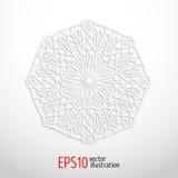 vit geometrisk mandala 3d Arabesquedesign Arabiska islamisk turkisk prydnad Arkivbilder