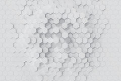 Vit geometrisk sexhörnig abstrakt bakgrund framförande 3d Arkivfoto