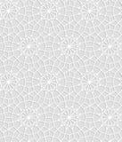 Vit geometrisk virkning för grå färger och snör åt cirkelstjärnor den sömlösa modellen, vektor royaltyfri illustrationer