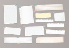 Vit gjort randig anmärkningspapper, förskriftsboken, anteckningsbokark klibbade med tejpen på grå bakgrund