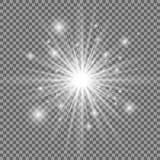 Vit glödande ljus explosion med genomskinlig bakgrund också vektor för coreldrawillustration ljus stjärna Glänsande signalljus arkivfoton