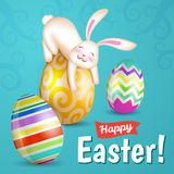 Vit gladlynt easter kanin stock illustrationer