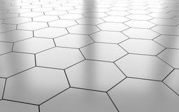 Vit glansig bakgrund för golv för keramisk tegelplatta för sexhörning framförande 3d vektor illustrationer