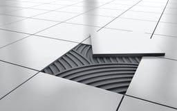Vit glansig reparation för golv för keramisk tegelplatta Bakgrund framförande 3d stock illustrationer