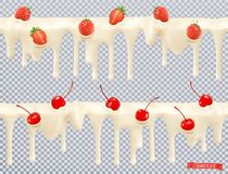 Vit glasyr Söt kräm med körsbäret, jordgubbe seamless modell vektor 3d royaltyfri bild