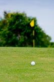Vit golfboll framme av hålet Arkivbilder