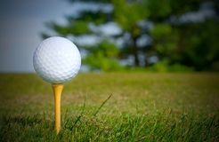 Vit golfboll på gul utslagsplats Arkivfoto