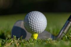 Vit golfboll teed upp på en gul utslagsplats med klubbaframsidan bak den och med mjuk grön bakgrund royaltyfria foton