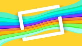 Vit gränsram på gul och färgrik grafisk bakgrund, pappers- vit ram på den färgrika moderna annonsen för banerrengöringsduken, grä vektor illustrationer