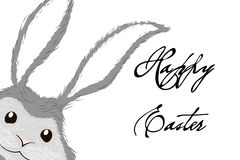 Vit grå easter kanin för easter för kaninkortdesign illustration stor hälsning Royaltyfria Foton