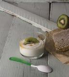 Vit grekisk yoghurt med kiwin Arkivfoton