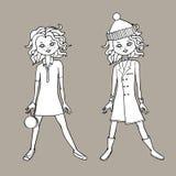 Vit gulligt tonårigt för flickan mode för svart & utrustar itu Kroppmall också vektor för coreldrawillustration royaltyfri illustrationer