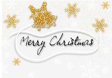 Vit hälsning för glad jul med guld- garneringar royaltyfri foto