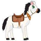 Vit häst med sadeln royaltyfri illustrationer