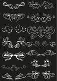 Vit hand tecknade banergarneringar på black Royaltyfri Bild