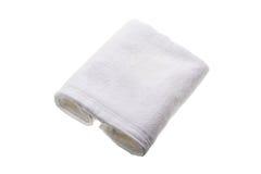 Vit handduk för mjuk hand arkivbild