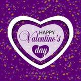 Vit hjärta på en dag och en konfetti för violetbakgrundsvalentin vektor royaltyfri illustrationer