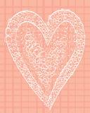 Vit hjärta på en kvadrerad rosa bakgrund Royaltyfri Bild
