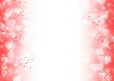 Vit hjärtabokeh och den röda gnistrandet skuggar på rött och vitt stock illustrationer