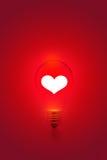 Vit hjärtaform på bakgrund för rött ljuskula, tom text arkivbilder